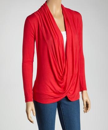 Red Twist Drape Top