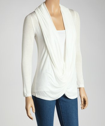 Ivory Twist Drape Top