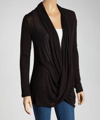 Black Twist Drape Top