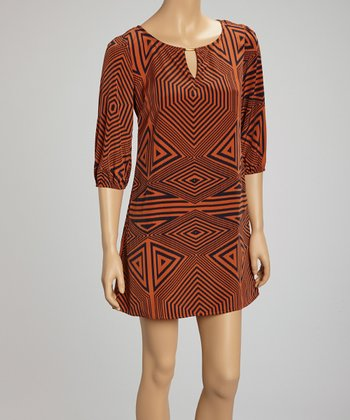 Brown Geometric Dress