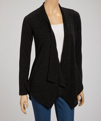 Black Sidetail Open Cardigan