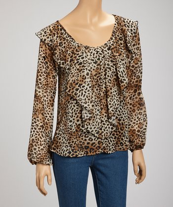 Brown Leopard Ruffle Top
