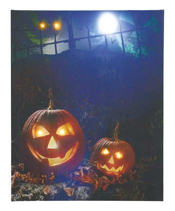 Haunted Pumpkins LED Canvas Wall Art