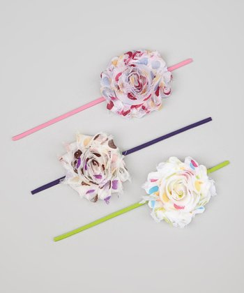 White & Pink Polka Dot Flower Headband Set
