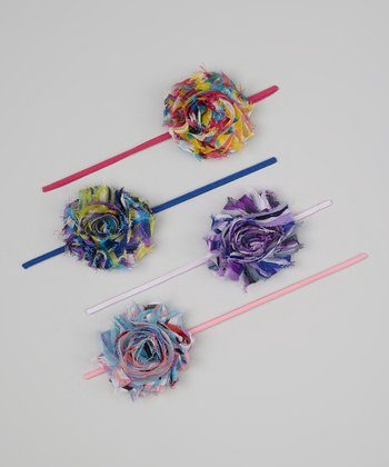 Blue & Pink Rainbow Flower Headband Set