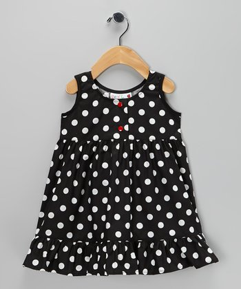 Black & White Polka Dot Ruffle Dress - Infant, Toddler & Girls