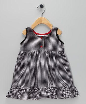 Black & White Gingham Ruffle Dress - Infant, Toddler & Girls