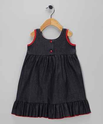 Dark Blue & Red Denim Ruffle Dress - Infant, Toddler & Girls