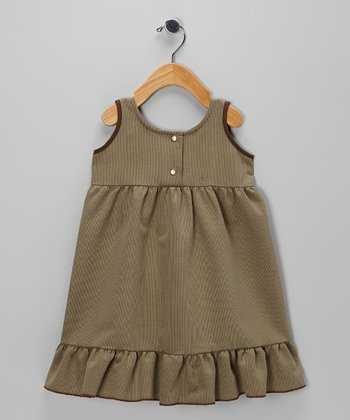 Green Corduroy Ruffle Dress - Toddler & Girls