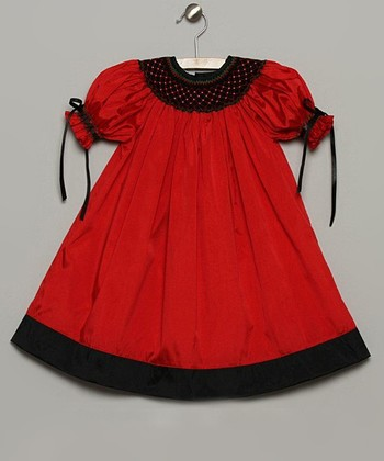 Red & Black Silk Bishop Dress - Infant & Toddler