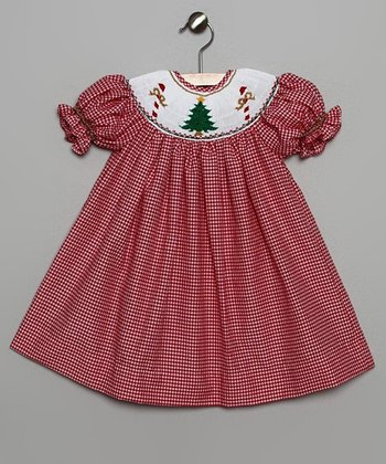 White Gingham Tree Bishop Dress - Infant & Toddler