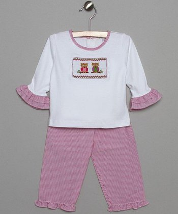 White & Pink Stripe Owl Top & Pants - Infant & Toddler