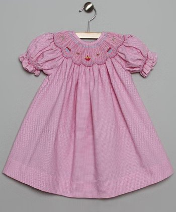 Pink & White Gingham Cake Bishop Dress - Infant & Toddler