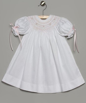White & Pink Bishop Dress - Toddler