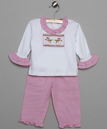 Pink & White Gingham Snowman Top & Pants - Infant & Toddler