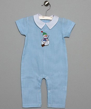 Blue & White Snowman Playsuit - Infant