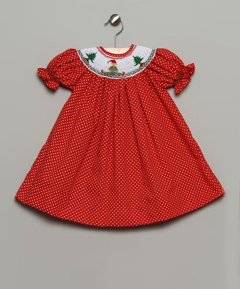 Red & White Polka Dot Elf Bishop Dress - Infant & Toddler