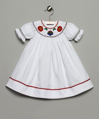 White & Red Ornament Bishop Dress - Infant & Toddler
