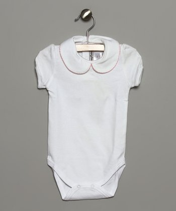 White & Pink Peter Pan Collar Bodysuit - Infant & Toddler