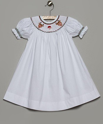 White & Green Santa Bishop Dress - Infant & Toddler