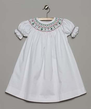 White & Red Christmas Bishop Dress - Toddler
