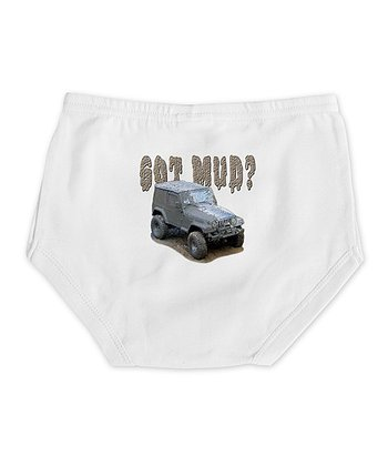 Cloud White 'Got Mud?' Jeep Diaper Cover - Infant