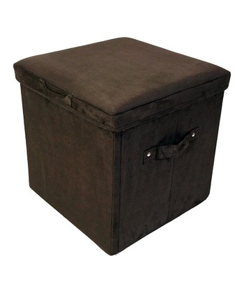 Brown Padded Folding Storage Ottoman