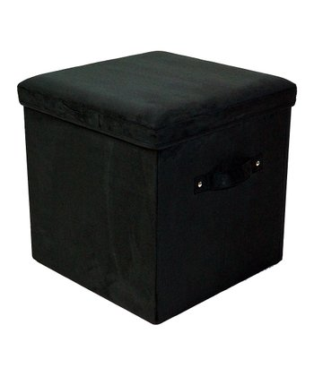 Black Padded Folding Storage Ottoman