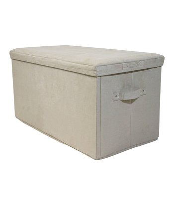Beige Padded Folding Storage Bench