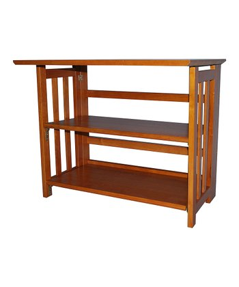 Honey Oak Folding Mission-Style TV Stand