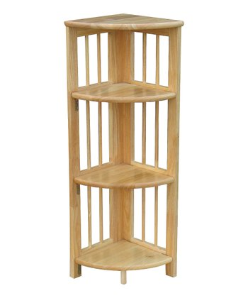 Natural Four-Tier Corner Folding Bookcase