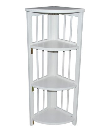 White Four-Tier Corner Folding Bookcase