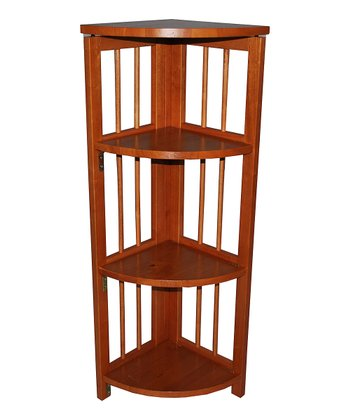 Honey Oak Four-Tier Corner Folding Bookcase