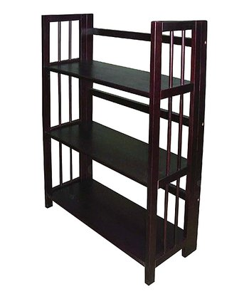 Espresso Three-Tier Stackable Folding Bookcase