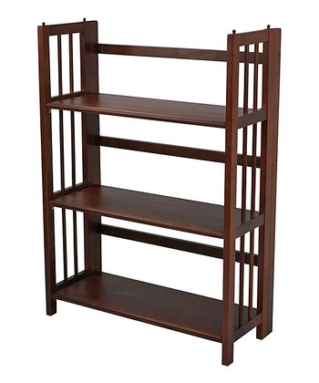Walnut Three-Tier Stackable Folding Bookcase