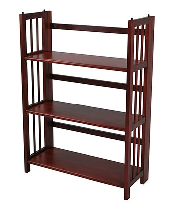 Mahogany Three-Tier Stackable Folding Bookcase