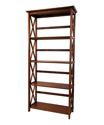Walnut Five-Tier Montego Bookcase