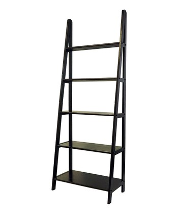 Espresso Five-Shelf Ladder Bookcase