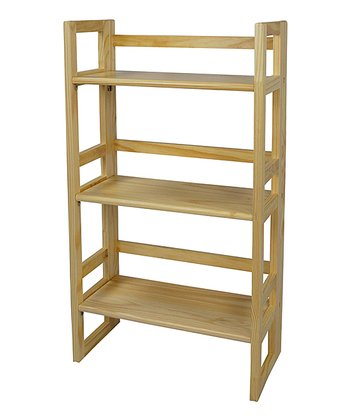 Natural Three-Tier Folding Student Bookcase