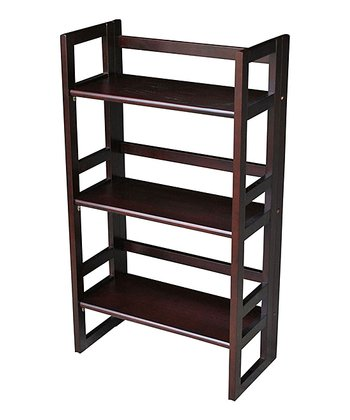 Espresso Three-Tier Folding Student Bookcase