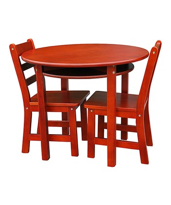 Cherry Kids' Three-Piece Round Table & Chair Set