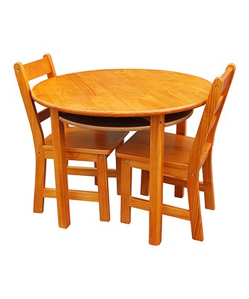 Pecan Kids' Three-Piece Round Table & Chair Set