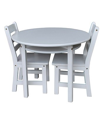 White Kids' Three-Piece Round Table & Chair Set