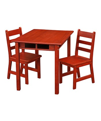 Cherry Kids' Three-Piece Table & Chair Set