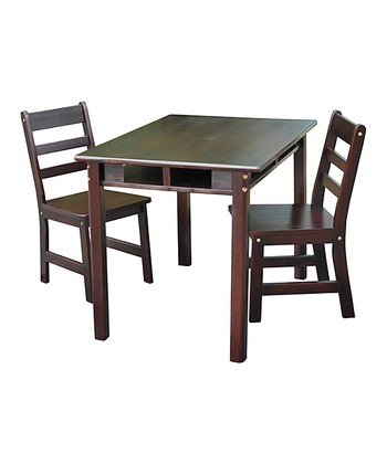Espresso Kids' Three-Piece Table & Chair Set
