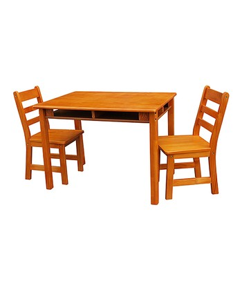 Pecan Kids' Three-Piece Table & Chair Set