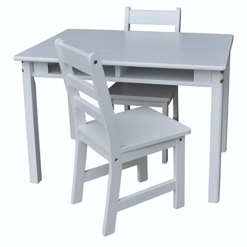 White Kids' Three-Piece Table & Chair Set