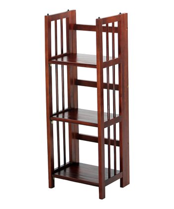 Walnut Three-Shelf Folding Stackable Bookcase