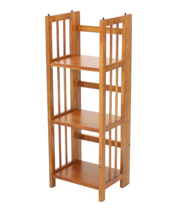 Honey Oak Three-Shelf Folding Stackable Bookcase