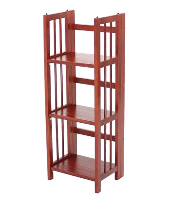 Mahogany Three-Shelf Folding Stackable Bookcase